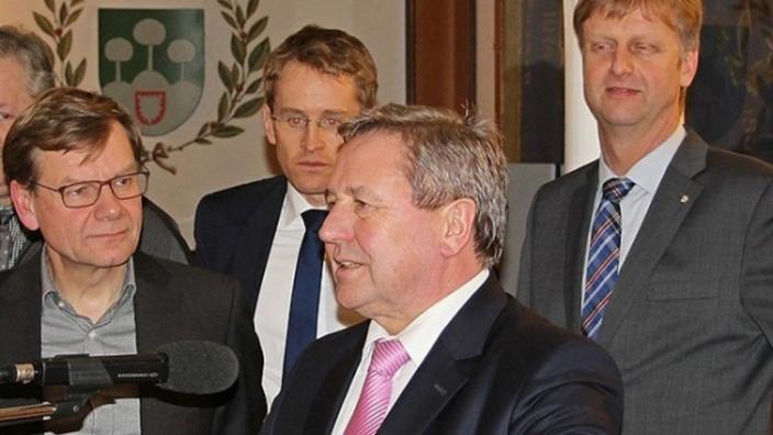 v.l.n.r.: Johann Wadephul, Daniel Günther, Hans-Jörn Arp und Heiner Rickers